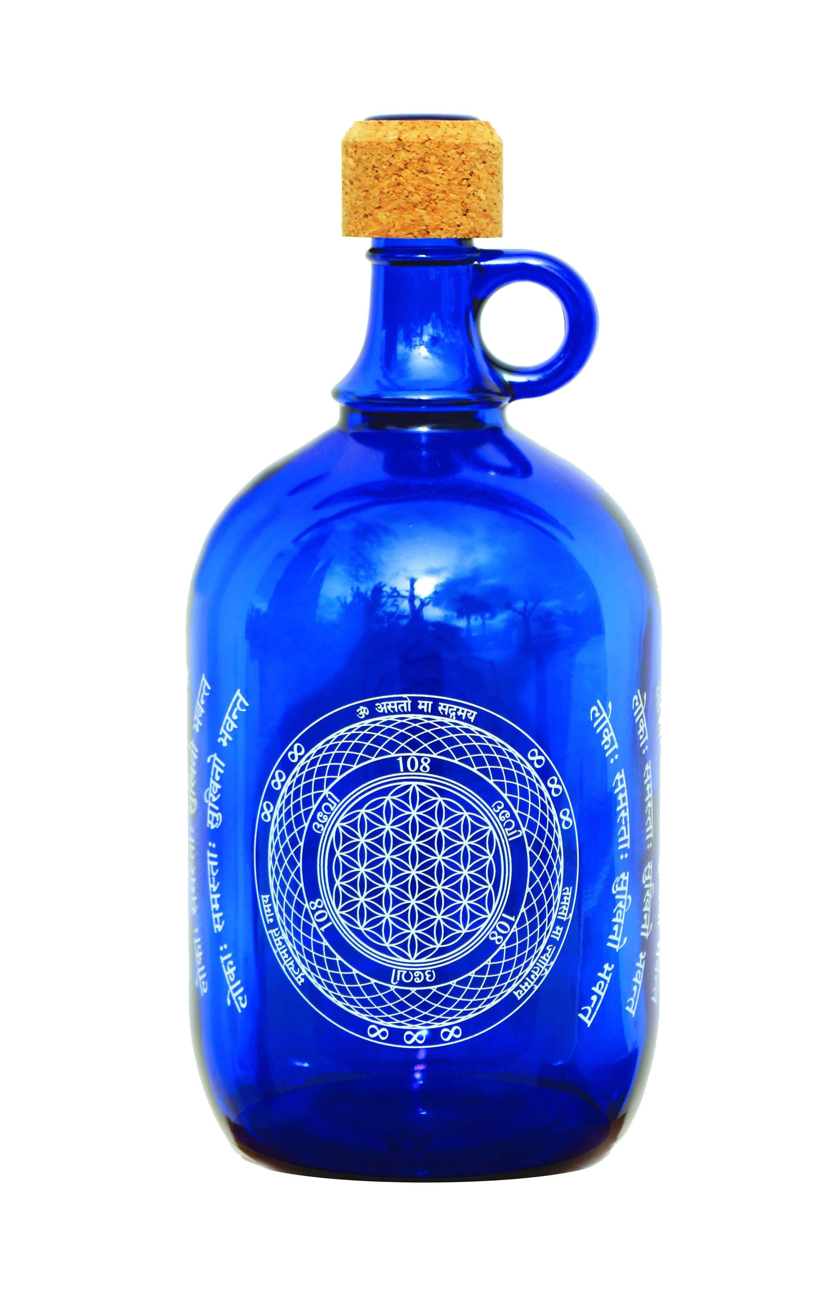 """Devi Water, """"Flower of Life"""", Blue Glass Water Bottle, 2L"""
