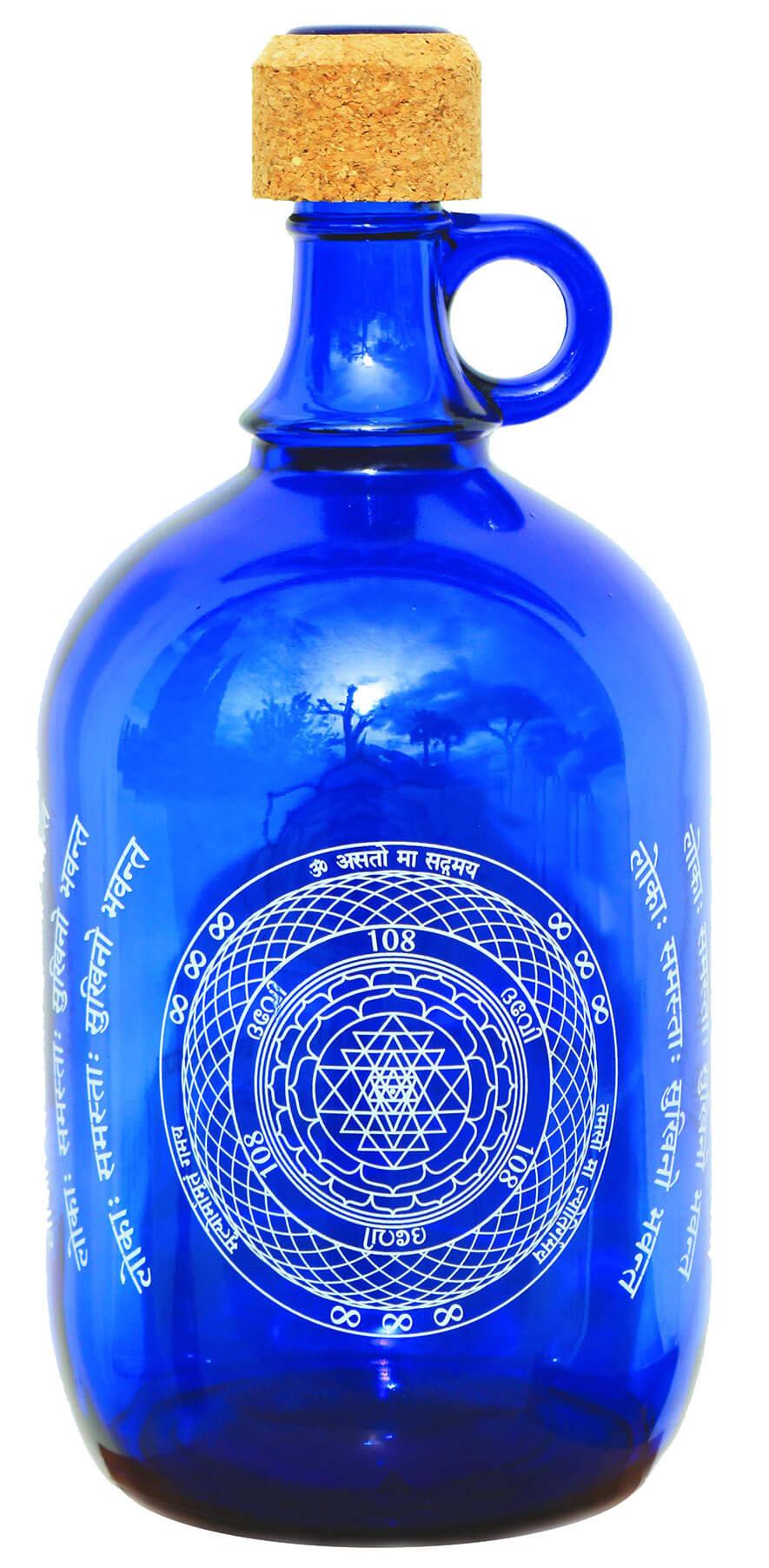 """Devi Water, """"Sri Yantra"""", Blue Glass Water Bottle"""